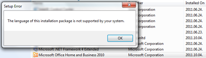 the language of this installation package is not supported by your system